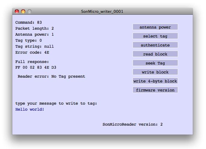 Figure 1. Screenshot of the reader/writer sketch