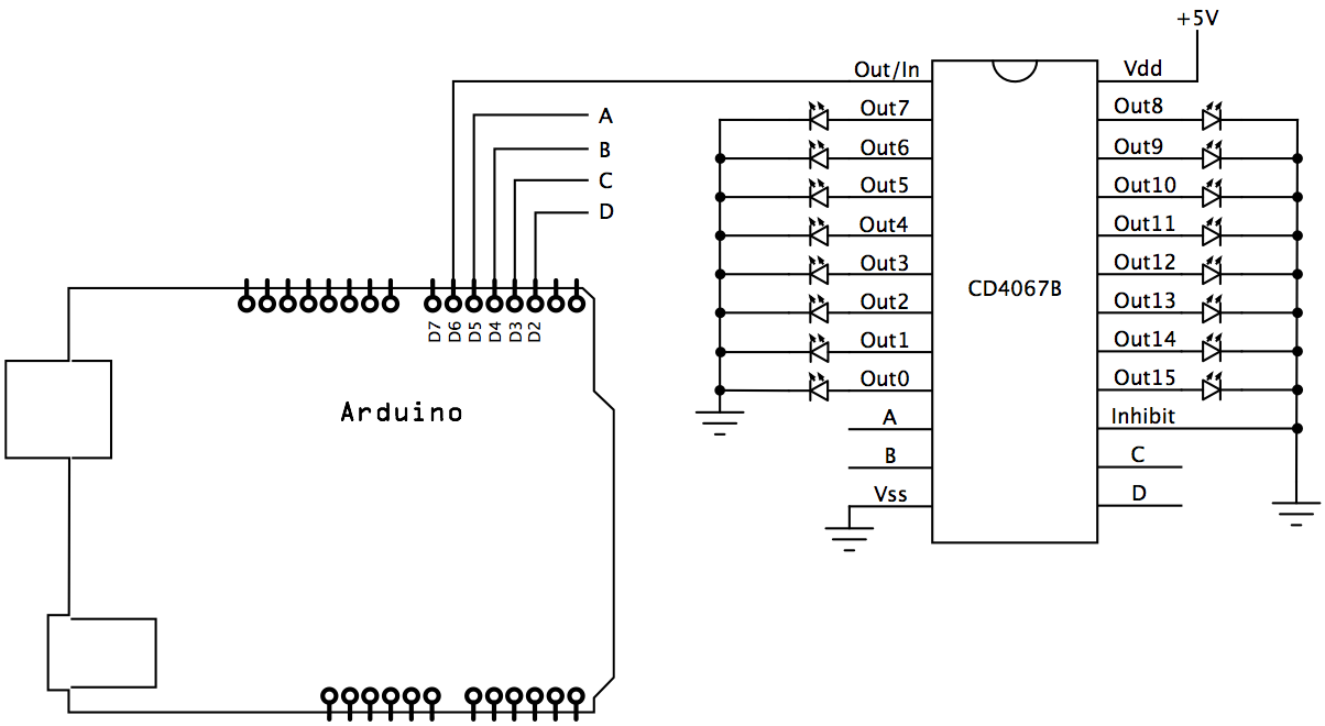 Cd4067 Multiplexer Used To Control Leds Code Circuits Construction Led In A Parallel Circuit The Schematic
