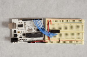 CD4099B addressable latch attached to an Arduino microcontroller