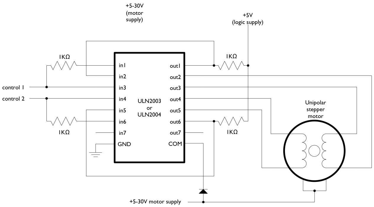stepper motors code circuits construction rh tigoe com stepper motor controller schematic unipolar stepper motor controller circuit diagram